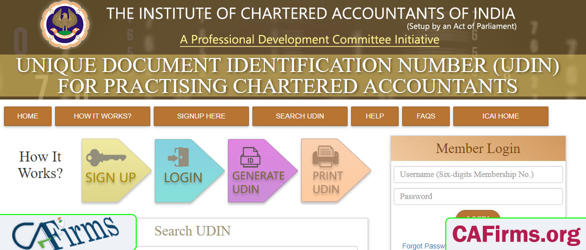 Generate UDIN to trace Fake Practicing Chartered Accountants